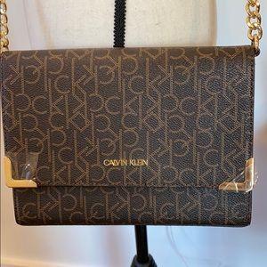 Calvin Klein NWT Monogram Logo Brown Crossbody Bag